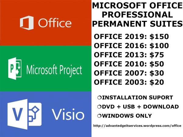 Permanent Microsoft Office Pro Editions (Lifetime Use / No Subs) (South Shore, MA) $150