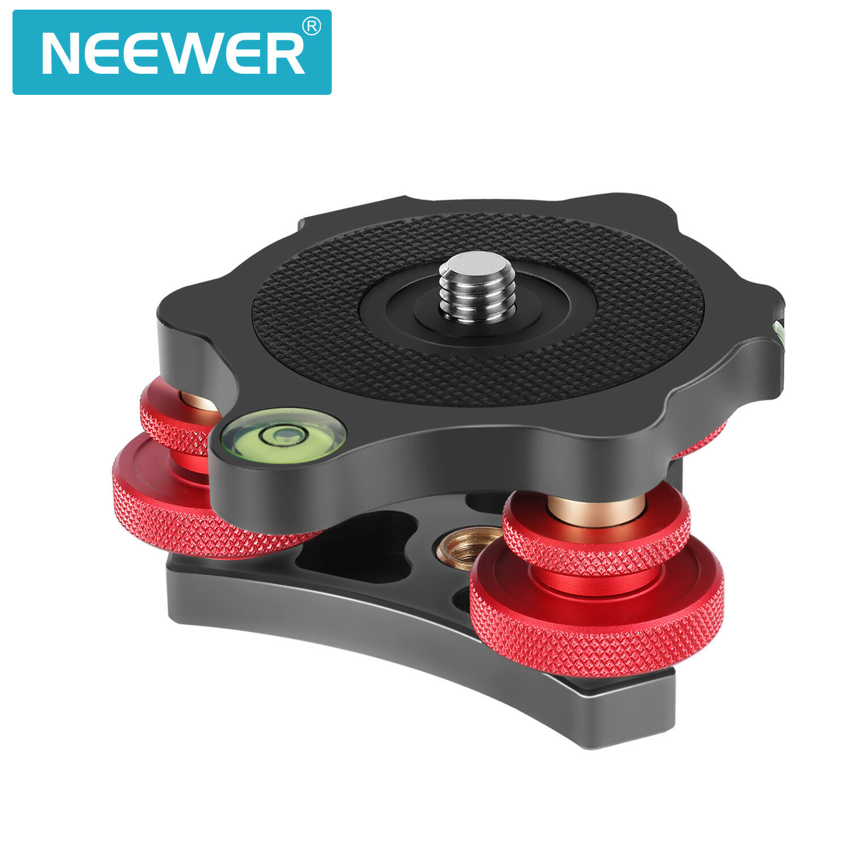 Neewer Photography Tripod Leveler Tri-Wheel Leveling Base with Bubble Level