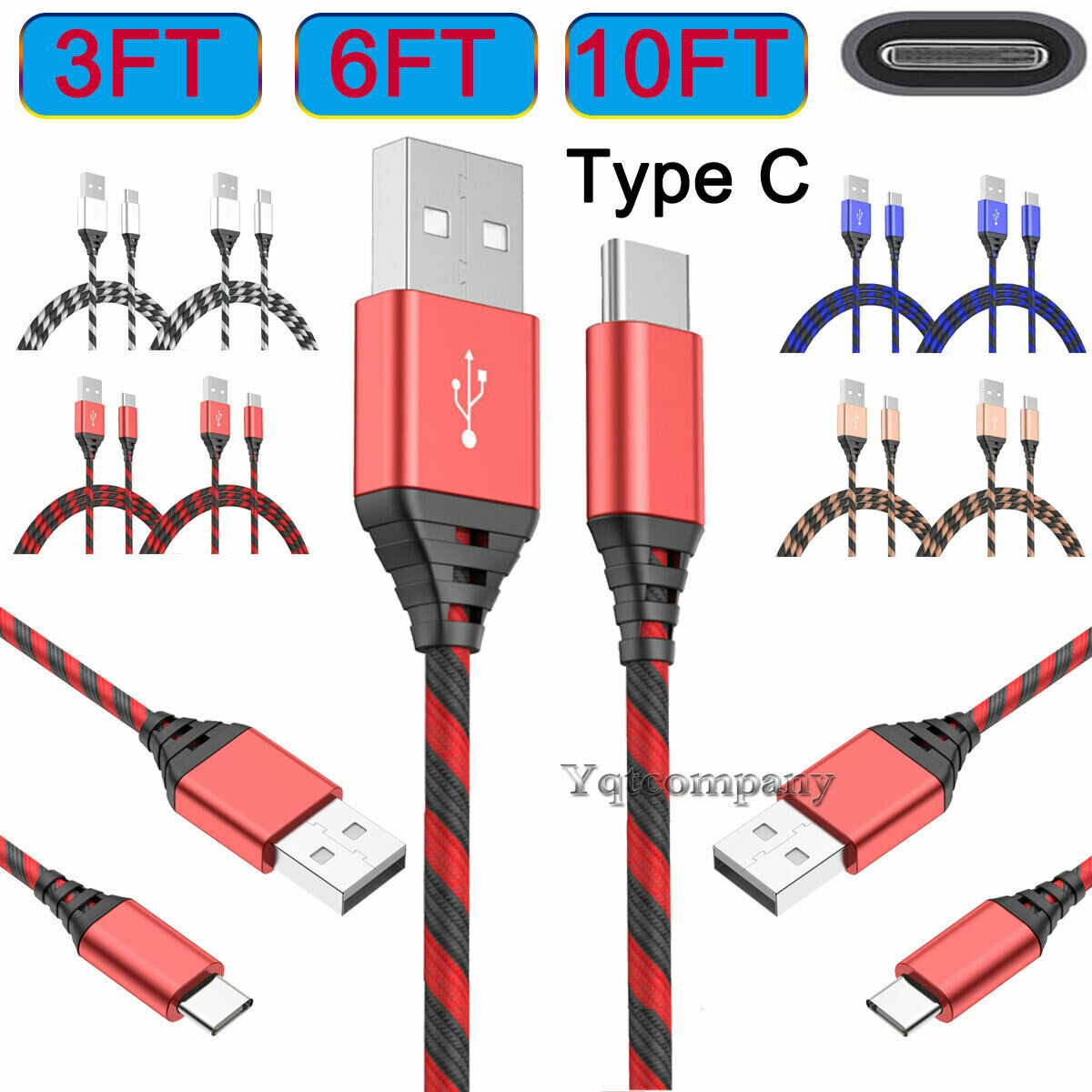 2-Pack Type C Charging Cable For LG Stylo 5 4 Plus V20 V30 V40 G5 G6 G7 G8 ThinQ