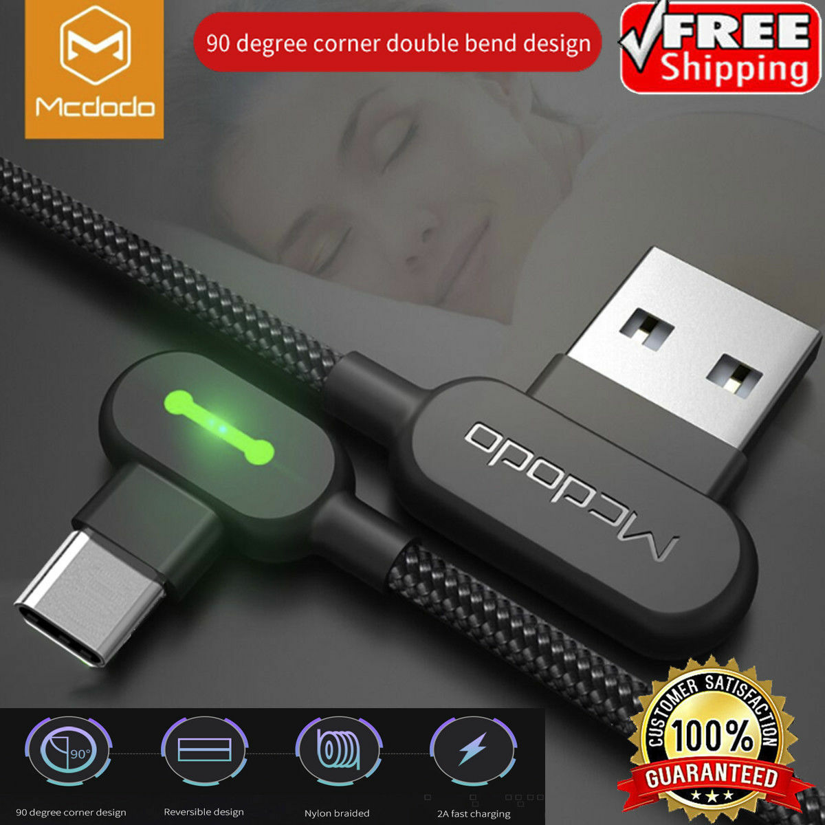 MCDODO 90 Degree Right Angle USB-C Type C Charging Cable Samsung Note 9 8 S10 LG