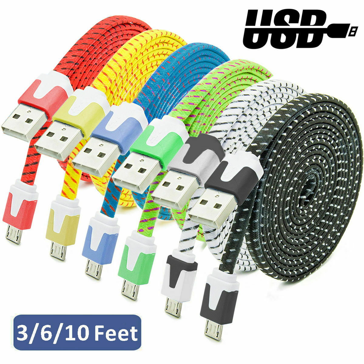 Lot 3/6/10ft Micro USB Data Sync Charger Charging Cable Cord for Android Samsung