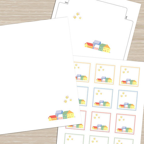 HomeTown – Printable Stationery, Notecards, Tags/Stickers