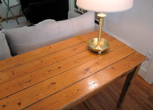antique plank harvest table (close up)