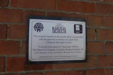 East Anglian Railway Museum – The Goods Shed – plaque – Ramped entrance