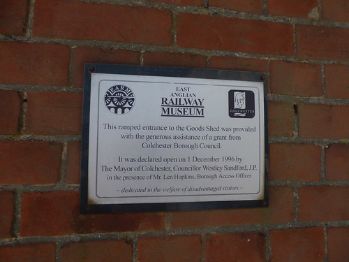 East Anglian Railway Museum - The Goods Shed - plaque - Ramped entrance
